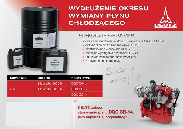 DEUTZ zaleca stosowanie płynu chłodzącego DQC CB-14